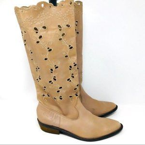 LuckyBrand tall boot floral embroidered 9.5 BoxJ